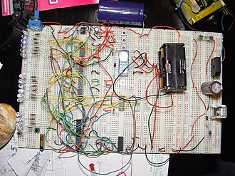 Digital electronics - A binary clock, hand-wired on breadboards
