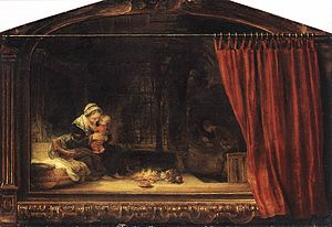 The Holy Family with Angels - Image: Rembrandt, The Holy Family with a Curtain, 1646, Museum Schloss Wilhelmshöhe, Kassel