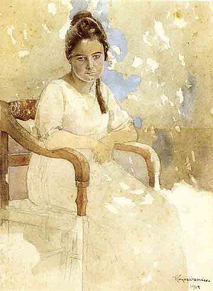 Alfredo Roque Gameiro - Portrait of his daughter Màmia (1919)