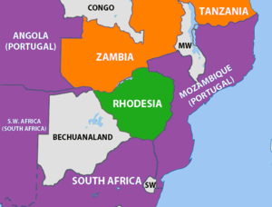 Mozambican Civil War - The geopolitical situation of Rhodesia in 1965. Rhodesia is coloured green and countries friendly to the government (South Africa and Portugal) are shown in purple.