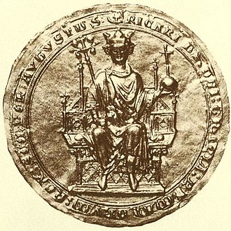 "Richard, 1st Earl of Cornwall - Seal of Richard, Earl of Cornwall, showing him enthroned as King of the Romans. Seal inscribed: RICARDUS DEI GRATIA ROMANORUM REX SEMPER AUGUSTUS. (""Richard by the grace of God King of the Romans ever august"")"