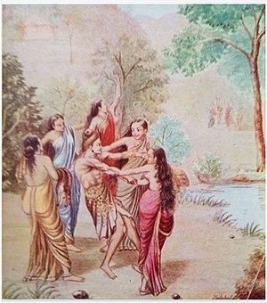 Rishyasringa - Ṛṣyaśṛṅga lured into aṅgadēśa by dancing girls