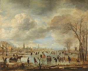Aert van der Neer - Winter Landscape with Skaters