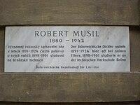 Robert Musil, pamětní deska, Brno.JPG