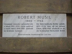 Robert Musil - Commemorative plaque in Brno