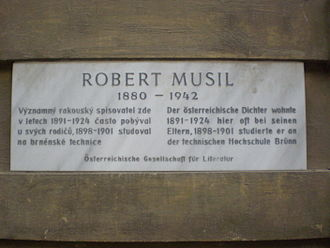 Robert Musil - Commemorative plaque in Brno