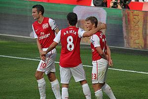 Robin van Persie, Mikel Arteta and Andrey Arsh...