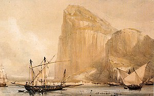 The Rock of Gibraltar's North Front cliff face from Bayside (c.1810) showing the embrasures in the Rock.