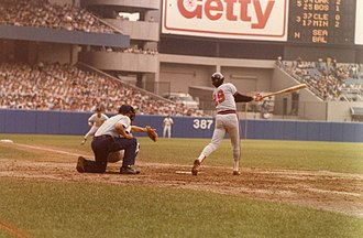 Rod Carew - Carew bats at Yankee Stadium in 1979.
