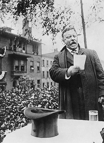 Roosevelt campaigning for president, 1912 Roosevelt on the Stump, 1912.JPG