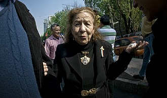 Rosario Ybarra - Rosario Ybarra protesting against a massacre in Palestine (2009).
