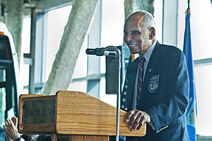 Roscoe Brown - Brown speaks at the dedication of the Tuskeege Airmen Bus Depot of MTA Regional Bus.
