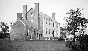 Port Tobacco Village, Maryland - South elevation of Dr. Gustavus Brown's Rose Hill on Rose Hill Road, vicinity of Port Tobacco. Built late 18th century, restored 1937 and 1970s. Photograph by Thomas T. Waterman, 1937, for the Historic American Buildings Survey