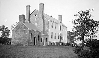 Rose Hill (Port Tobacco, Maryland) - South elevation of Dr. Gustavus Brown's Rose Hill on Rose Hill Road, vicinity of Port Tobacco, Charles County, Maryland. Built late 18th Century, restored 1937. Photograph by Thomas T. Waterman, 1940, for the Historic American Buildings Survey