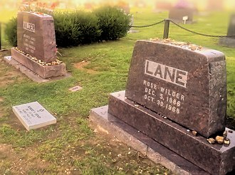 Rose Wilder Lane - Lane's gravesite next to that of her parents in the Mansfield Cemetery, Missouri