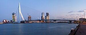 """Nieuwe Maas - The Erasmusbrug (""""Erasmus Bridge"""") across the Nieuwe Maas in Rotterdam."""