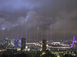 Skyline of Rotterdam with lights commemorating the Rotterdam Blitz