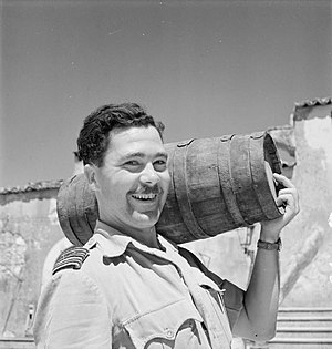 Operation Bowler - George Westlake with a cask of wine, responsible for the success of Bowler