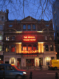 Royal Court Theatre theatre on Sloane Square, Chelsea in the Royal Borough of Kensington and Chelsea, London, England