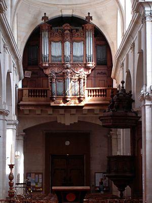 Matthijs Langhedul - Image: Rue saint Jacques Eglise Saint Jacques The organ and the pulpit