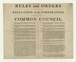 Local government in the United States - Rules and orders for the regulation of the corporation when met in Common Council, Philadelphia, circa 1800–1809