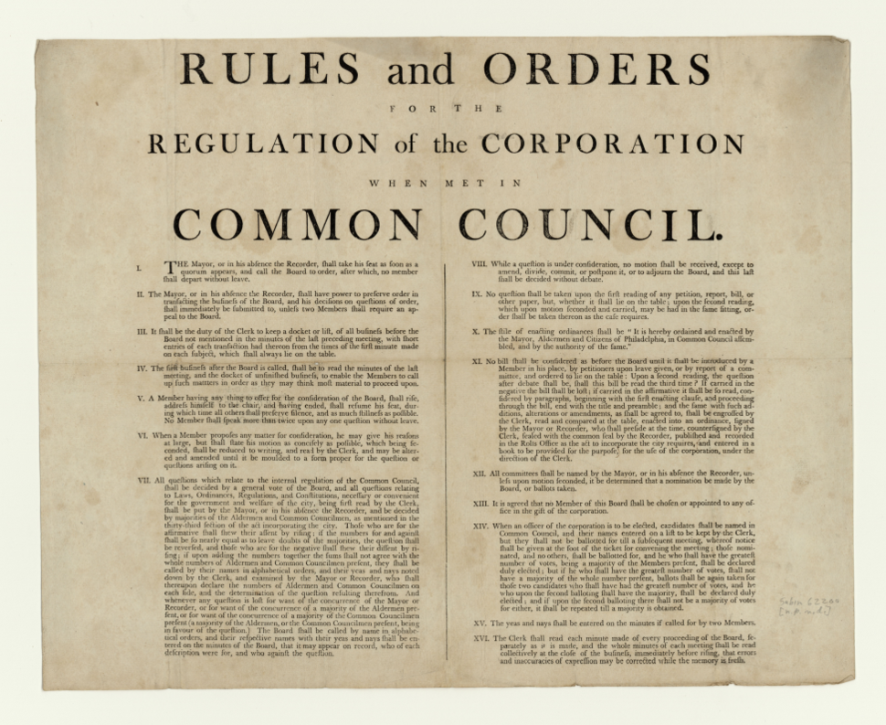 Rules and orders for the regulation of the corporation when met in Common Council, Philadelphia, circa 1800-1809