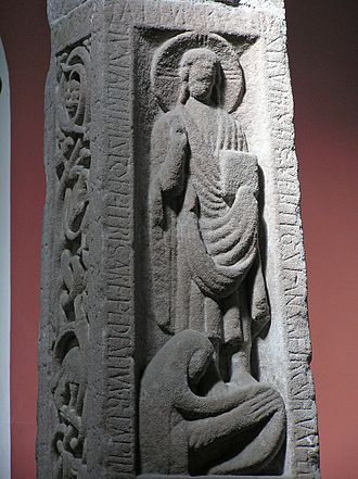 Ruthwell Cross - The washing of Christ's feet, south side.