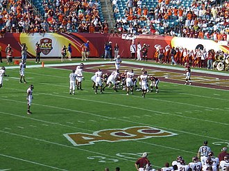 2007 ACC Championship Game - Matt Ryan and the Boston College offense (dark uniforms) are backed up deep in their own territory as the first half comes to an end.
