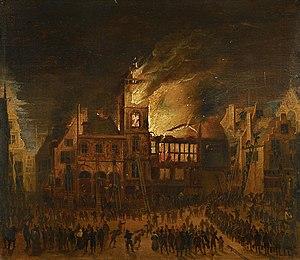 Timeline of Amsterdam - Image: SB 4512 De brand van het oude stadhuis op de Dam (7 juli 1652)