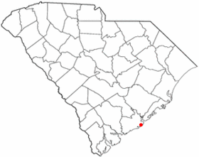 Location of Folly Beach inSouth Carolina