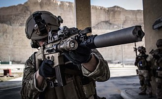 Special Forces Group (Belgium) - Belgian Special Forces Group operator with the SCAR rifle in Jordan, Nov. 2014