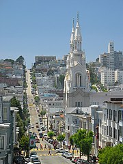 Looking west on Filbert Street, St. Peter and Paul Church and Russian Hill are visible.