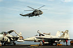SH-3H of HS-12 near USS Midway (CV-41) in 1991.JPEG