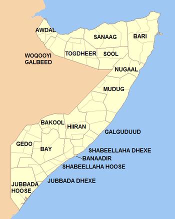 Français : Régions composant la Somalie