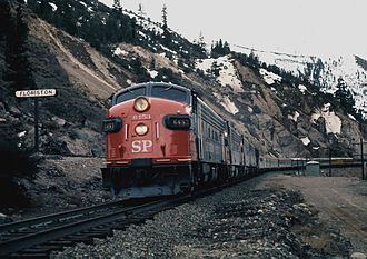 Southern Pacific Transportation Company - An EMD FP7 leads a Pacific Rail Society Special through Floriston, California in February, 1971.
