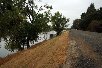 Levee - The side of a levee in Sacramento, California