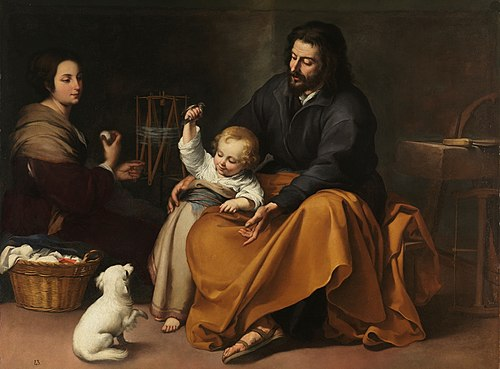 Holy Family with bird, c. 1650, by Bartolome Esteban Murillo Sagrada Familia del pajarito (Murillo).jpg