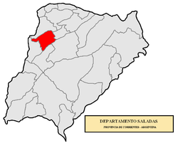 location of Saladas Department in Corrientes Province