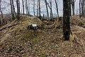 Salangsverket Ruins of industrial iron ore mining 1907–1912 Langneset Sagfjorden Løksefjorden Salangen Troms Northern Norway Vanntårnet Spring Naked trees Dry leaves 2019-05-07 09257.jpg