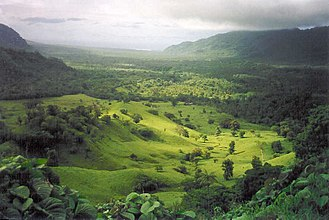 Archaeology of Samoa - Falefa Valley, looking north from Le Mafa Pass, east Upolu