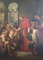 "Painting. ""San Carlos Borromeo Giving Alms to the Poor"" by Jose Salome Pina, 1853. On display at the MUNAL in Mexico City, Mexico."