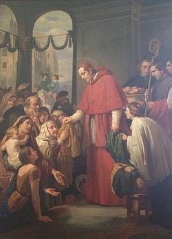 Citations des Pères de l'Eglise concernant l'AUMÔNE et la CHARITÉ (en espagnol) 250px-San_Carlos_Borromeo_Repartiendo_Limosna_al_Pueblo_by_Jose_Salome_Pina_-_1853