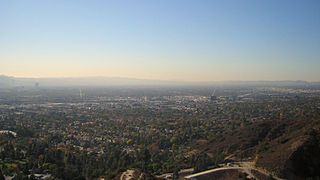 A view of the San Fernando Valley looking west from Brand Park in Glendale. Santa Monica Mountains, and Simi Hills are seen in the distance.