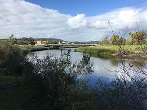 San Lorenzo River - The San Lorenzo River southeast of downtown Santa Cruz.