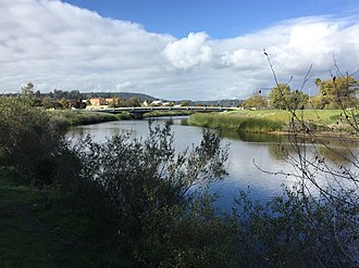 San Lorenzo River - The San Lorenzo River southeast of downtown Santa Cruz.