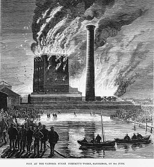 Port Melbourne, Victoria - Fire at the Sandridge sugarworks in 1875