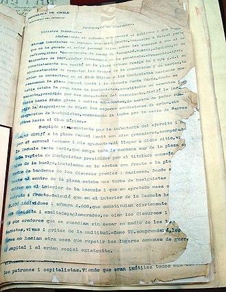 Santa María School massacre - General Roberto Silva Renard's account of the massacre. Collection of the Archivo Nacional de Chile.