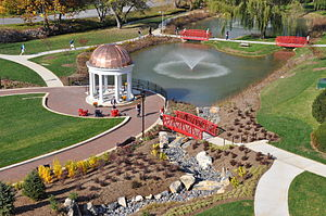 Shenandoah University - A newly constructed part of Shenandoah University's campus called Sarah's Glen where students can relax and study.