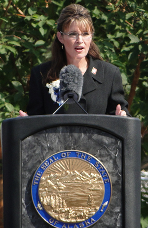 Resignation of Sarah Palin - Sarah Palin gives farewell speech at Fairbanks' Pioneer Park.