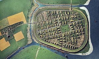 Aarhus - Model of the early fortified Viking town Aros. North is up.